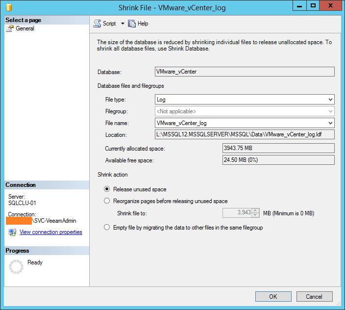 domalab.com shrink vCenter database log file