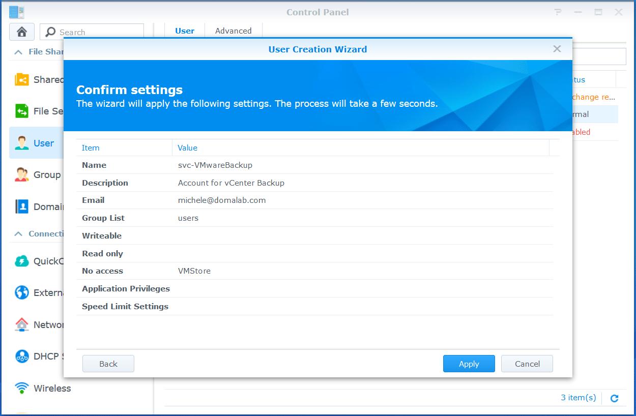 domalab.com VMware VCSA Backup synology wizard summary