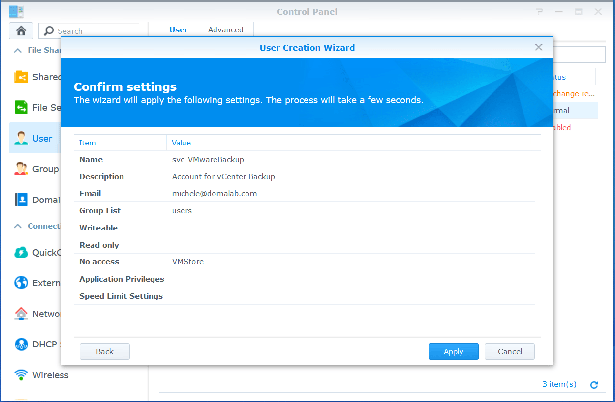domalab.com VMware VCSA Backup synology wizard summary