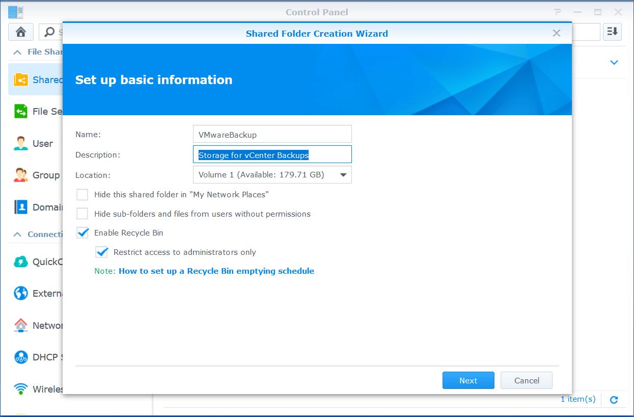 domalab.com VMware VCSA Backup synology shared folder