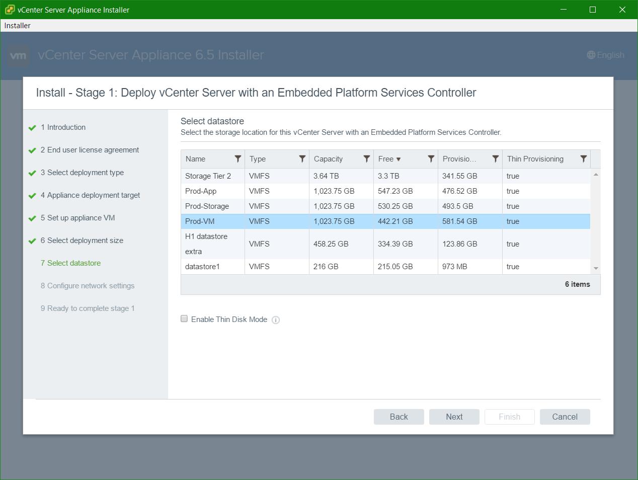 domalab.com VCSA install select datastore