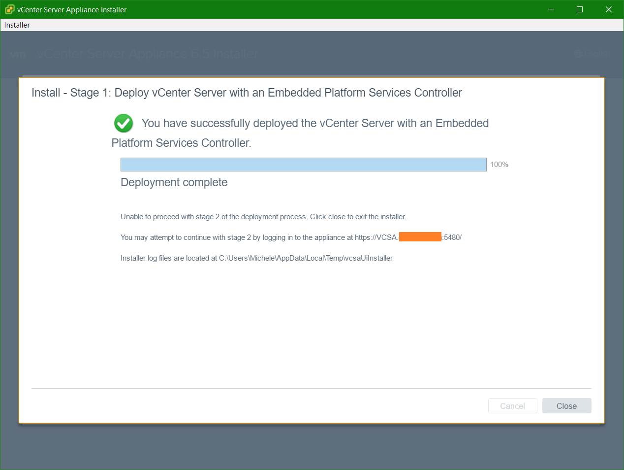 domalab.com VCSA install stage 1 complete