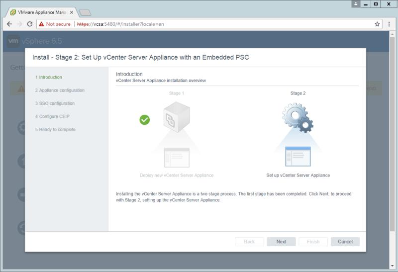 domalab.com VCSA install stage 2