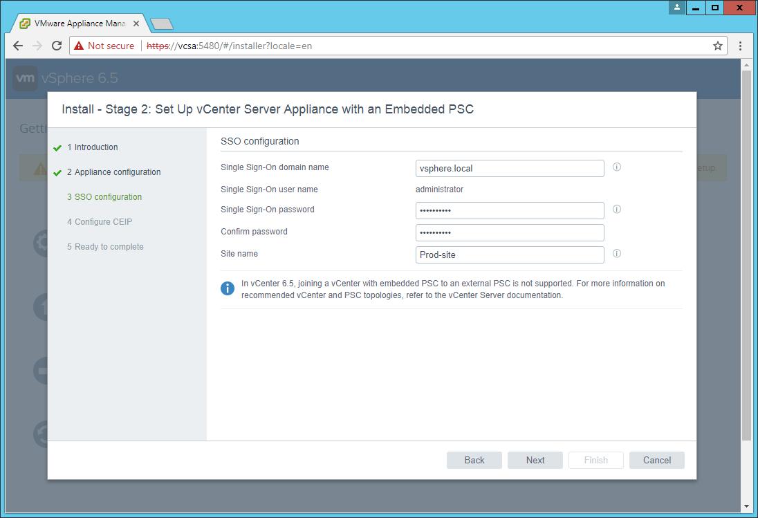 domalab.com VCSA install SSO configuration
