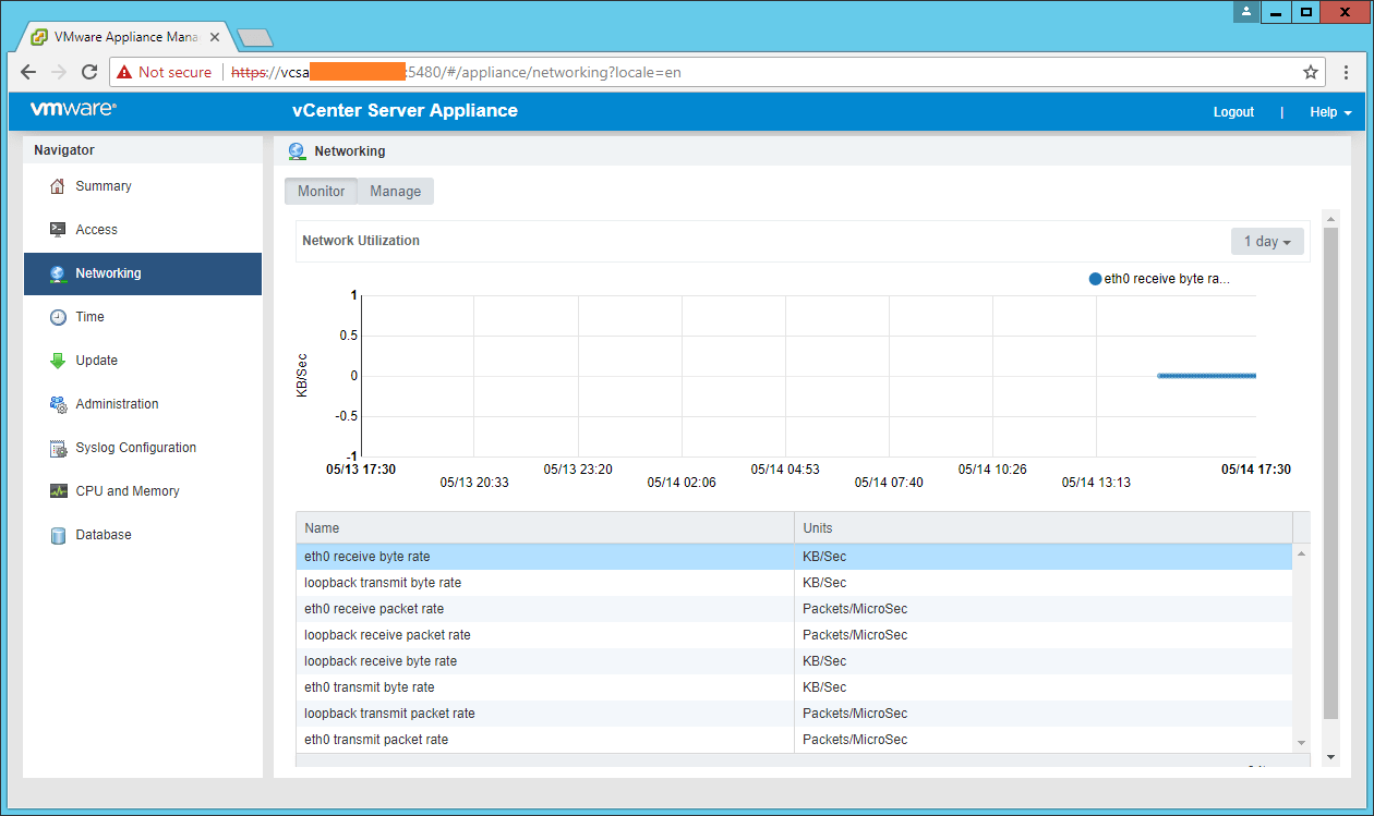 domalab.com VCSA configuration monitor networking
