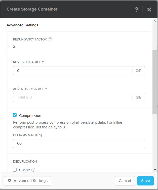 domalab.com Create Nutanix Storage Container advanced settings