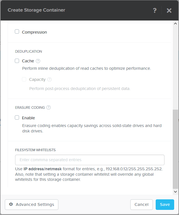domalab.com Create Nutanix Storage Container settings
