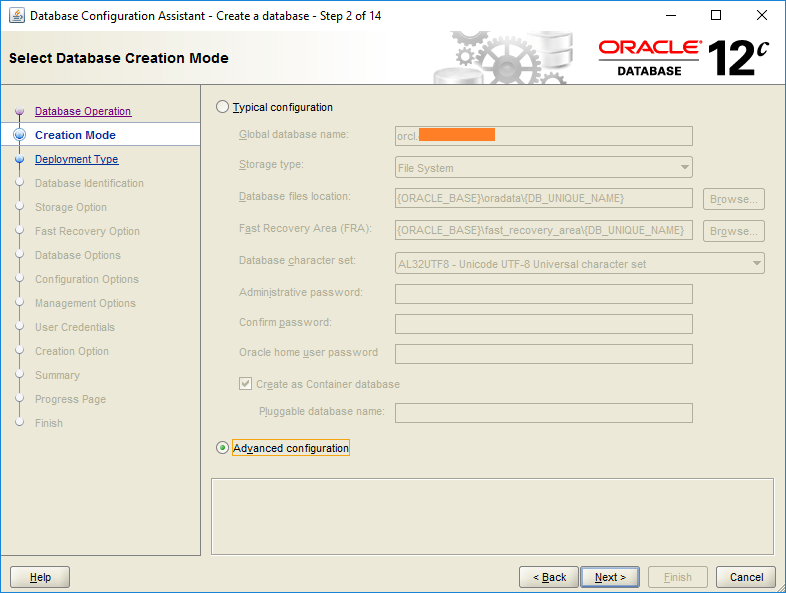 domalab.com create oracle database ctreation mode