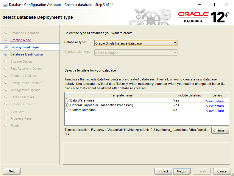 domalab.com create oracle database type