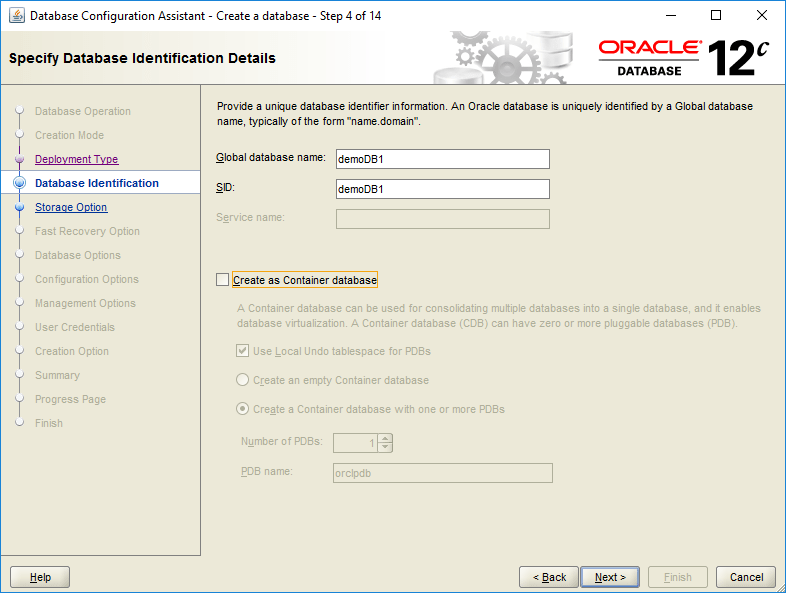 domalab.com create oracle database identification