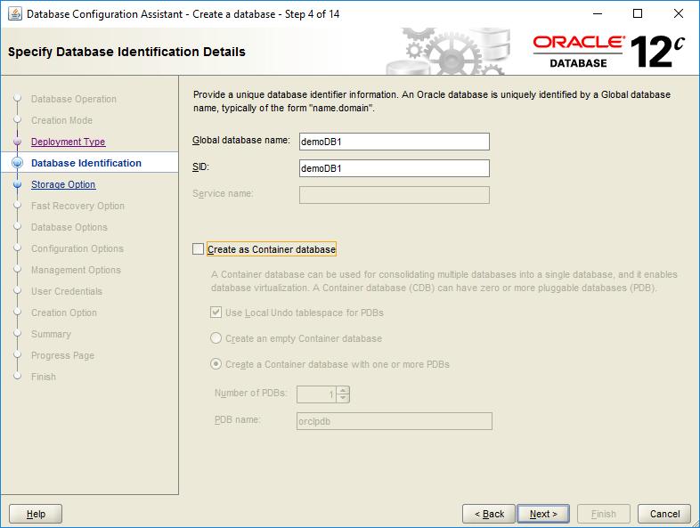 domalab.com create oracle database identification