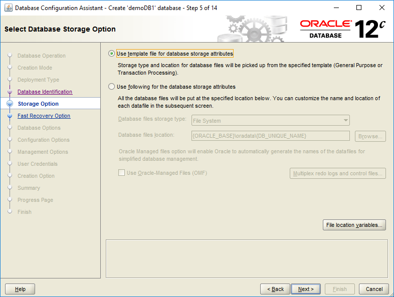 domalab.com create oracle database storage option