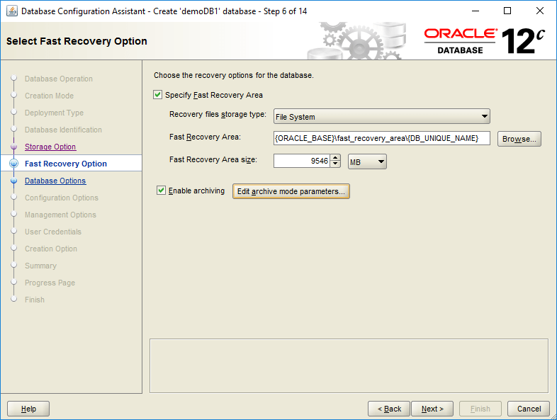 domalab.com create oracle database Fast Recovery option