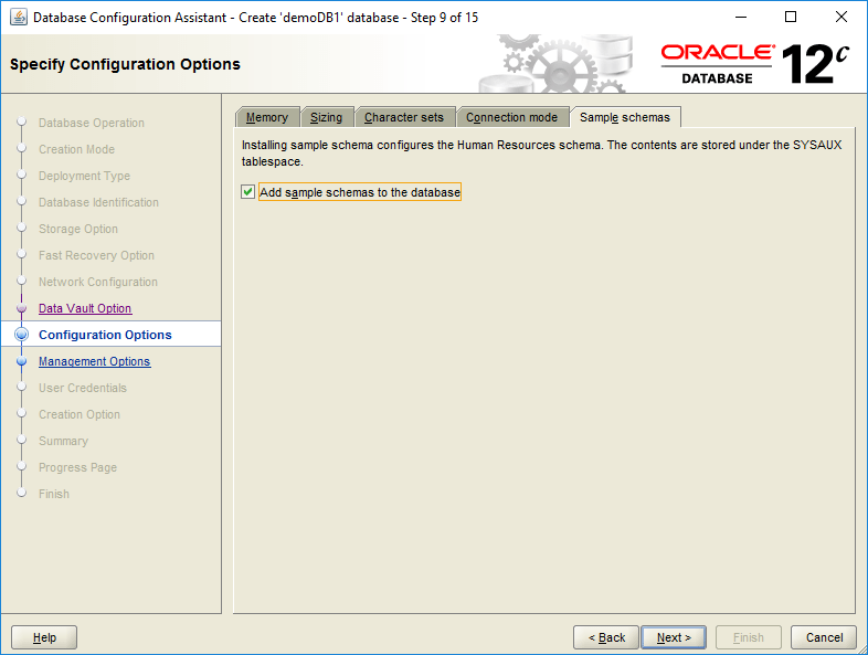 domalab.com create oracle database configuration options schema