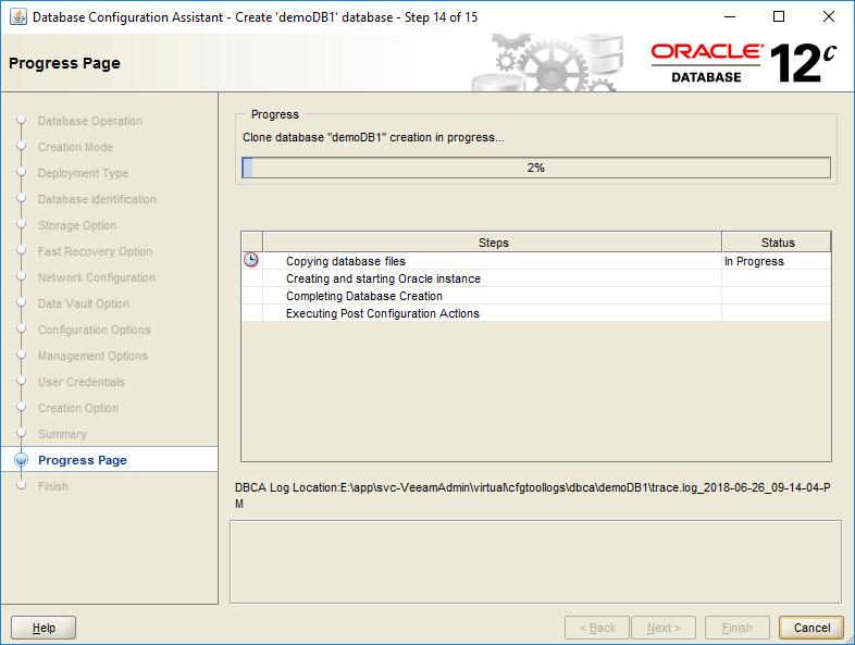 domalab.com create oracle database progress page