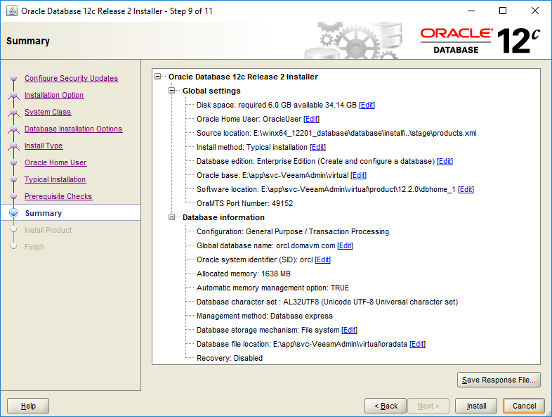 domalab.com Install Oracle summary