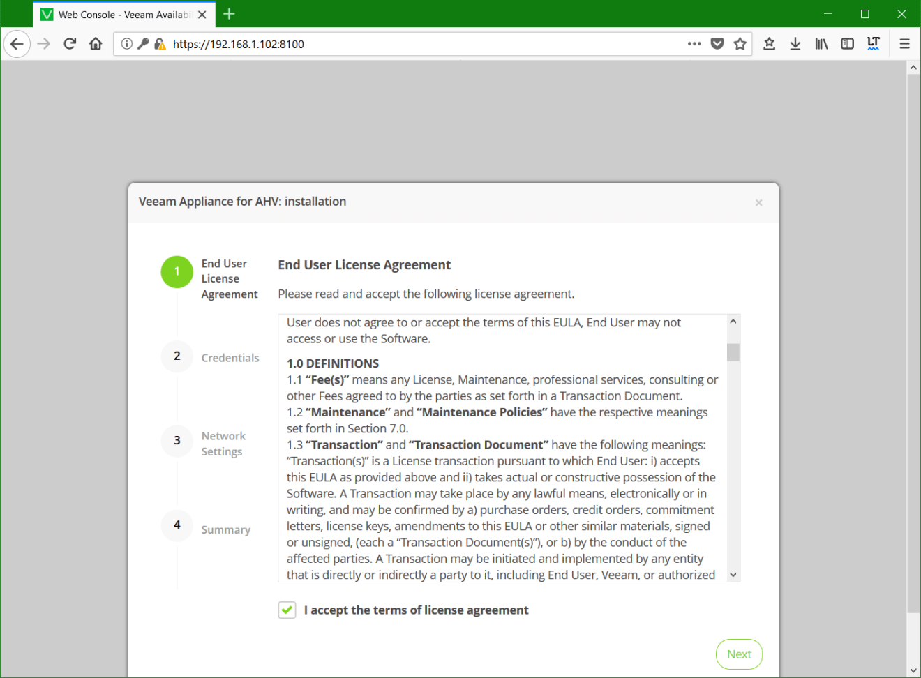 domalab.com Install Veeam VAN license agreement