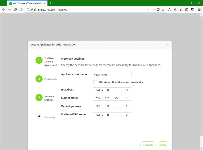 domalab.com Install Veeam VAN appliance networ settings