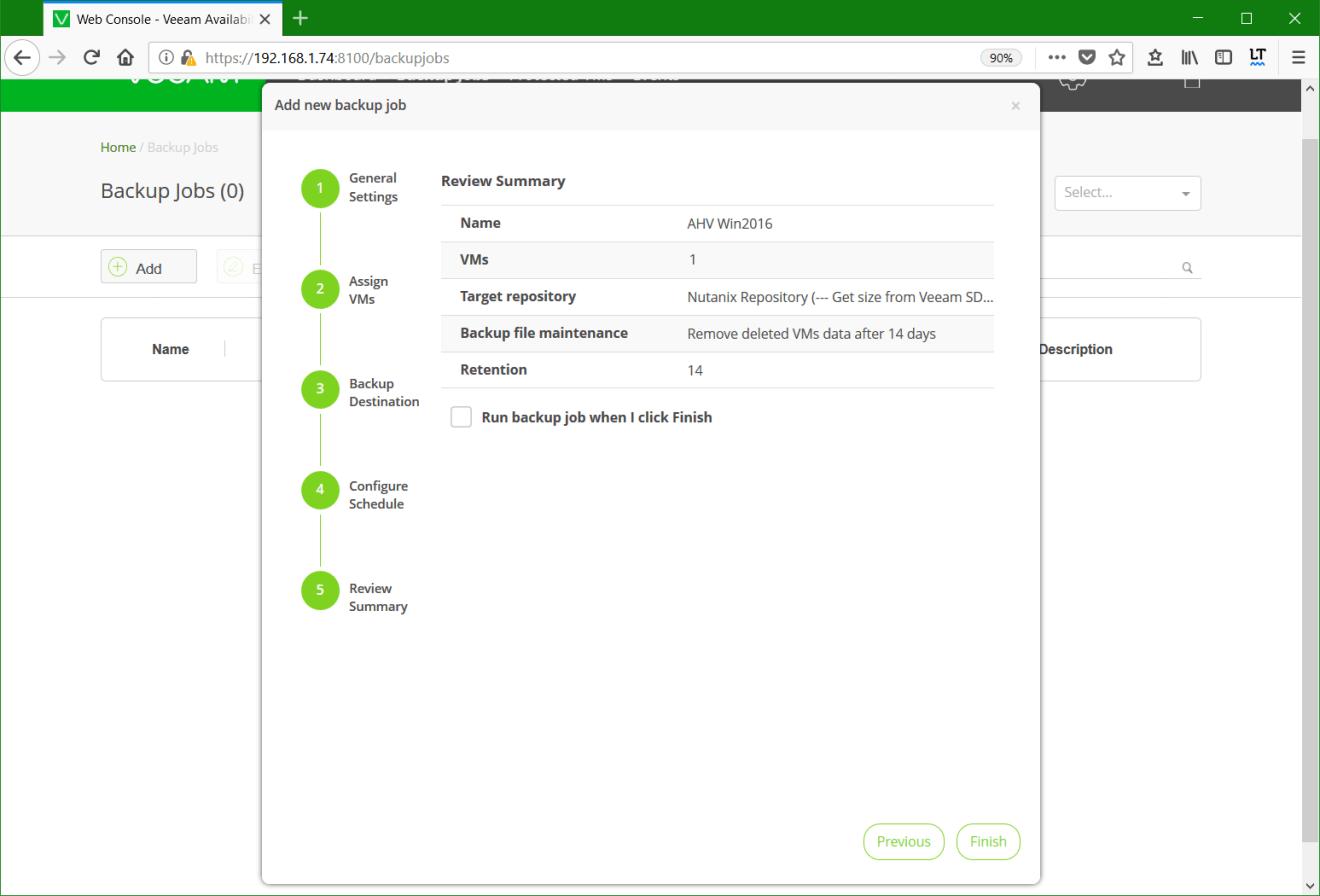 domalab.com Backup Nutanix job summary
