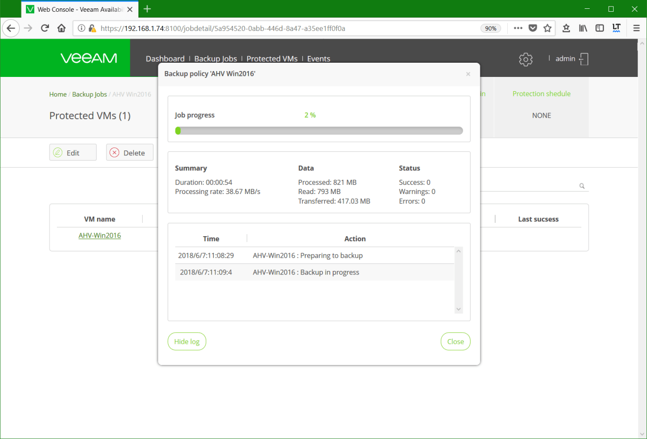 domalab.com Backup Nutanix job progress