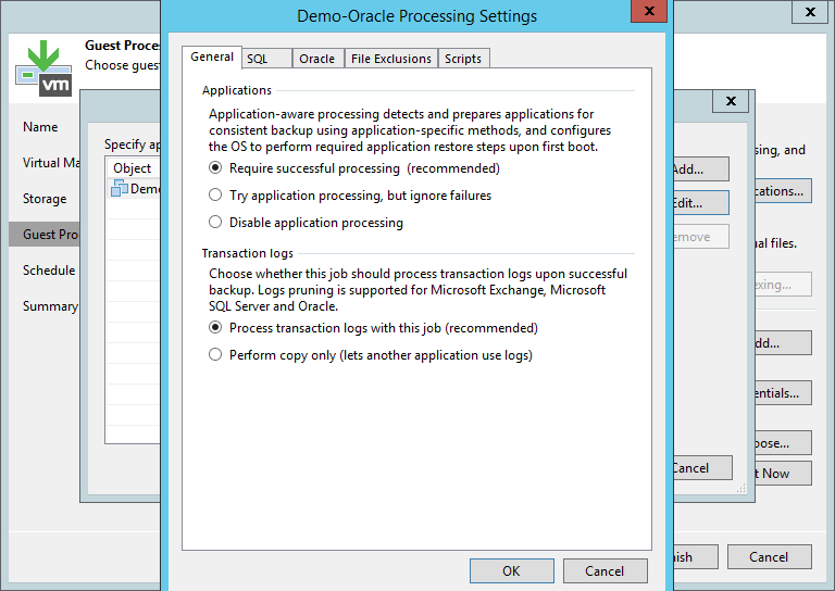 domalab.com Veeam Backup Oracle Database application processing