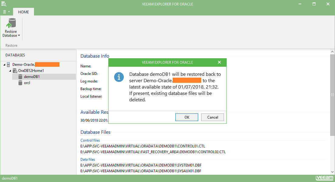 domalab.com Restore Oracle database with veeam