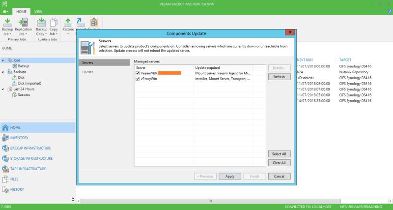 domalab.com Veeam Backup upgrade components