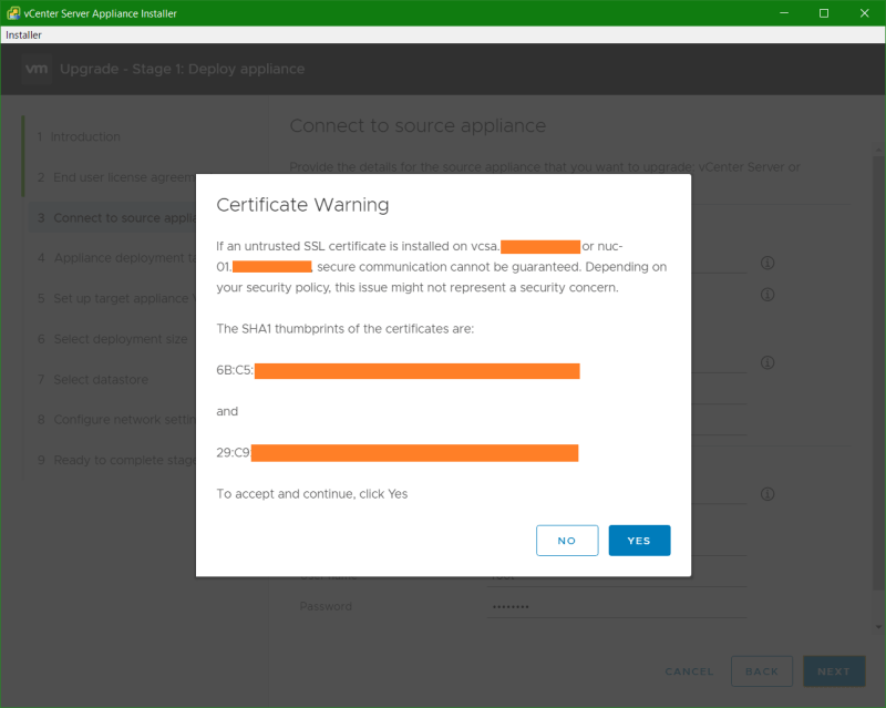 domalab.com VCSA upgrade stage 1 certificate warning