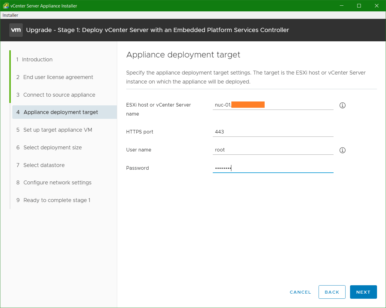 domalab.com VCSA upgrade stage 1 appliance deployment target
