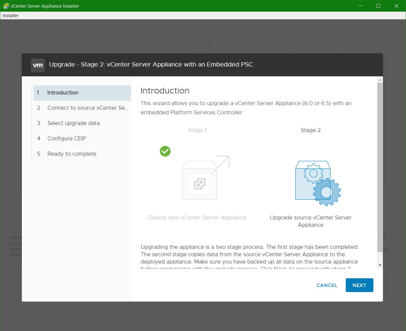 domalab.com vmware vcsa upgrade stage 2 install wizard