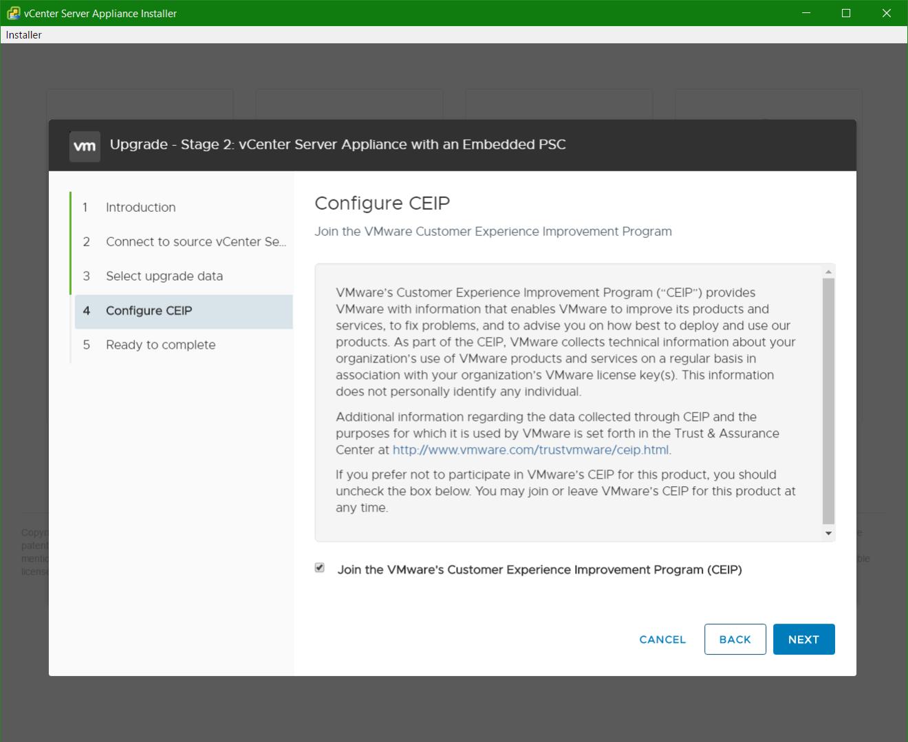 domalab.com vmware vcsa upgrade stage 2 ceip