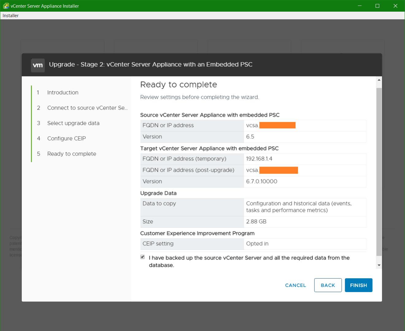 domalab.com vmware vcsa upgrade stage 2 summary