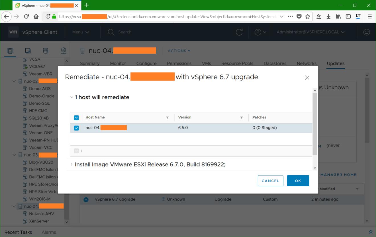 domalab.com VMware vSphere host custom baseline remediate