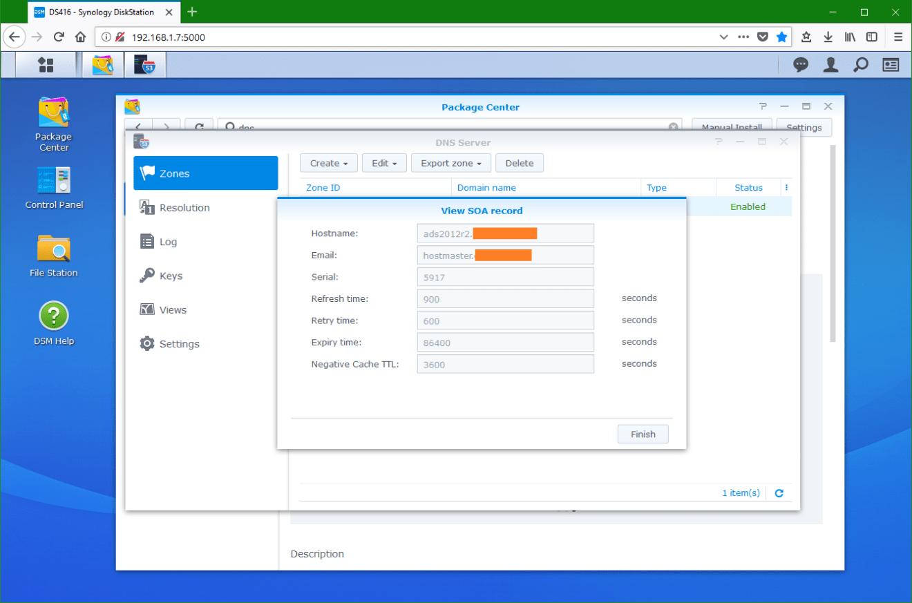 domalab.com Synology DNS SOA record