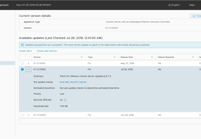 Update VCSA to latest release with Appliance Management