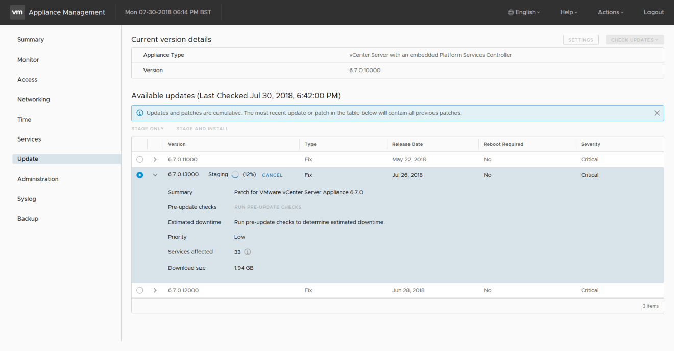 domalab.com Update VCSA stage only
