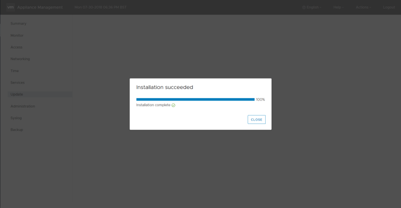 domalab.com Update VCSA install completed