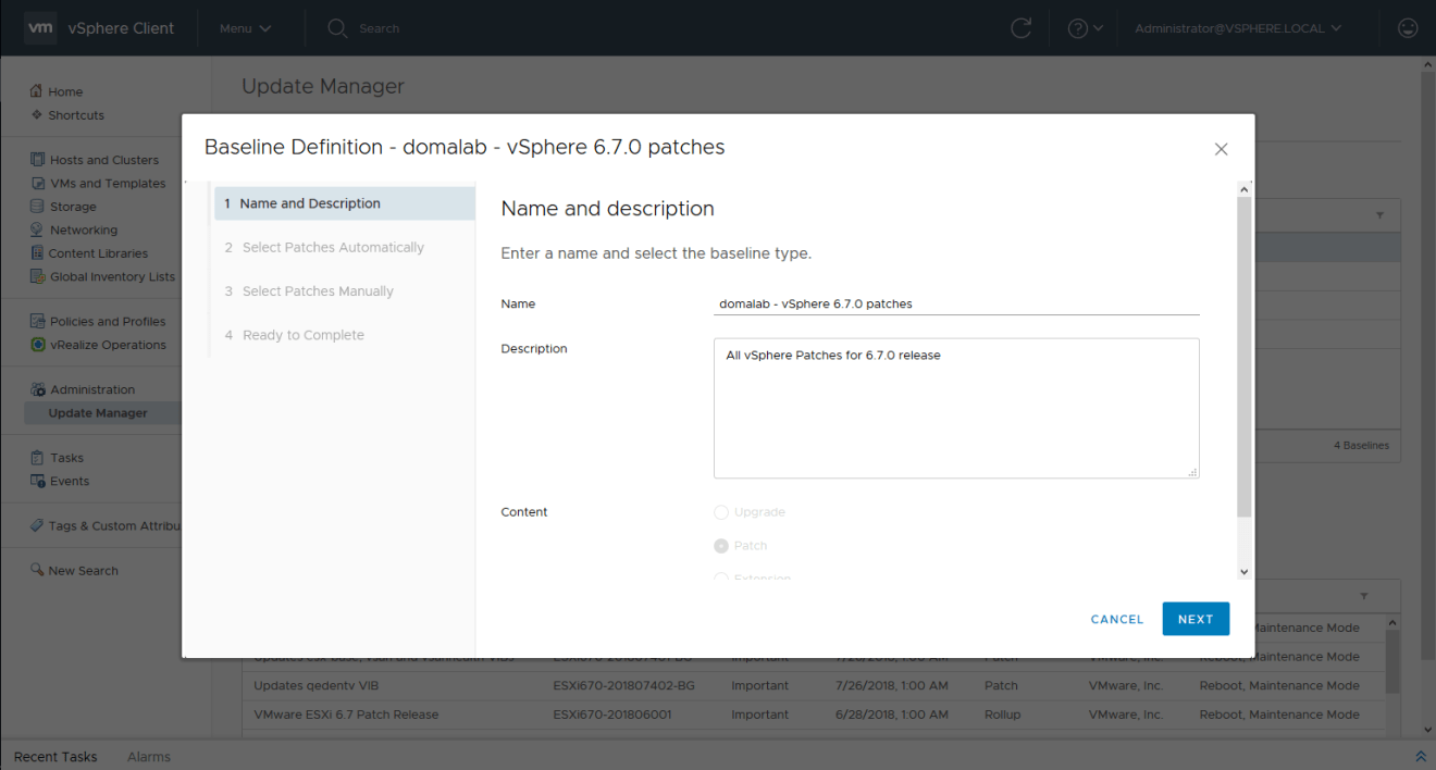 domalab.com install vSphere Patches baseline definition
