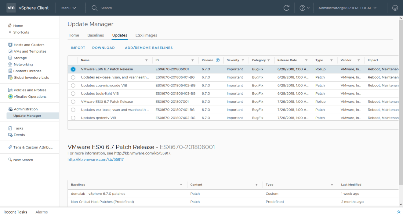 domalab.com install vSphere Patches baseline updates
