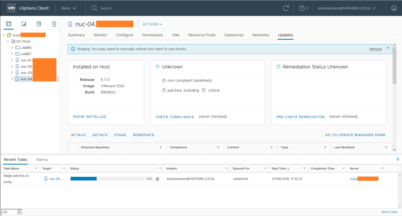 domalab.com install vSphere Patches staging