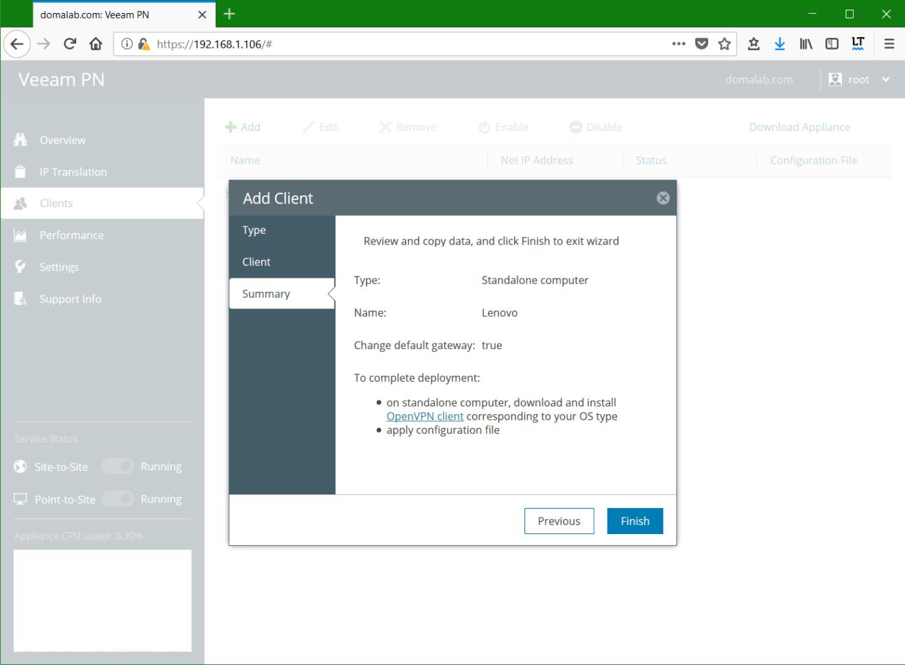 domalab.com Veeam PN Client summary