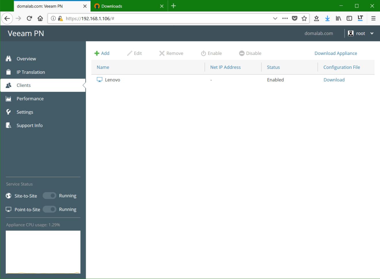 domalab.com Veeam PN Client list