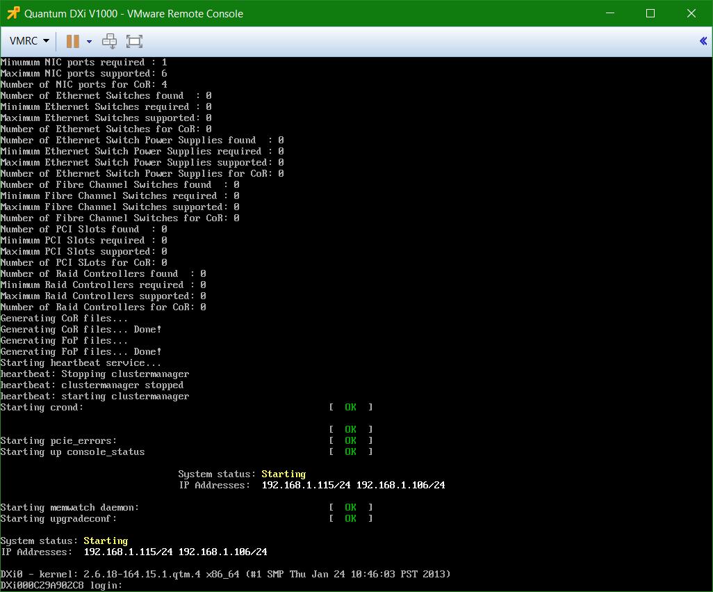 domalab.com Quantum DXi v1000 install console