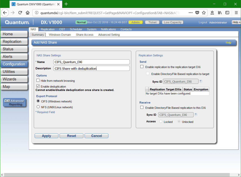 domalab.com Quantum DXi CIFS add NAS share