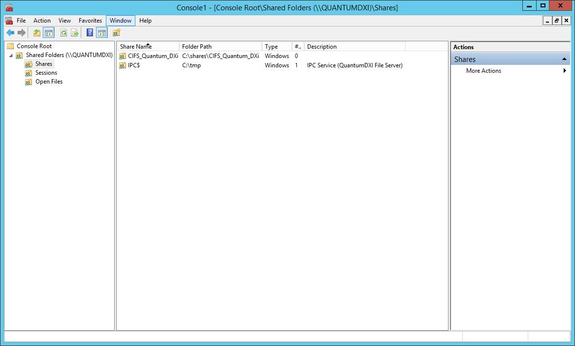 domalab.com Quantum DXi CIFS mmc shared folder list