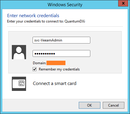 domalab.com Quantum DXi CIFS map windows credential