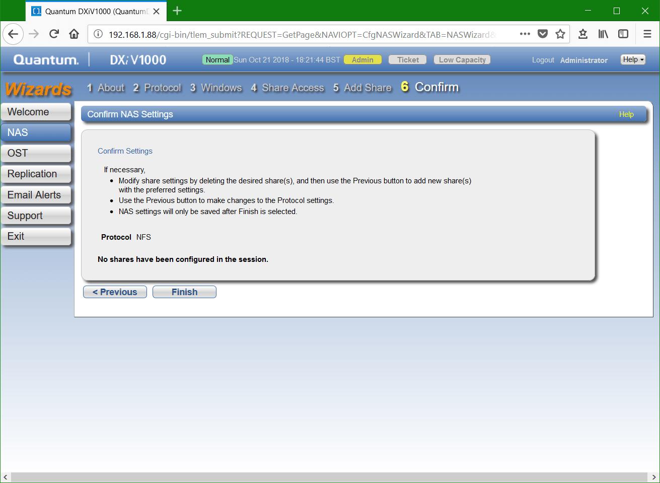 domalab.com Quantum DXi NFS share confirm