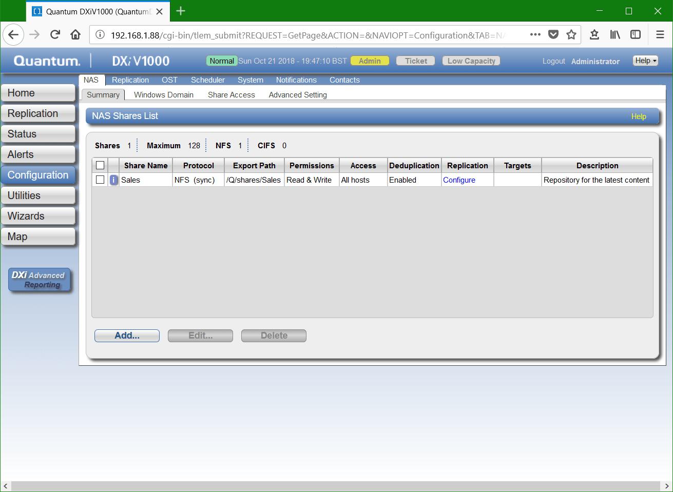 domalab.com Quantum DXi NFS edit NAS shares