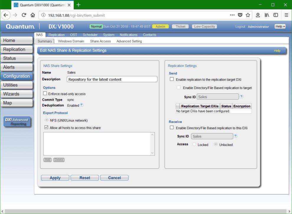 Quantum DXi NFS Share setup with deduplication » domalab