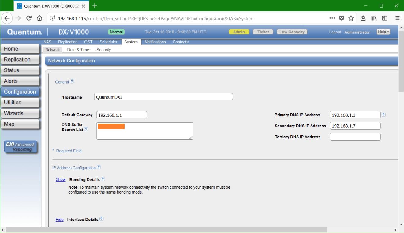 domalab.com Quantum DXi network hostname